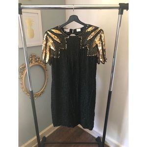 Vintage 80's Stenay Black and Gold sequin size 16